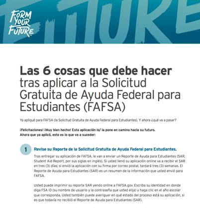 Las 6 cosas que debe hacer tras aplicar a la Solicitud Gratuita de Ayuda Federal para Estudiantes (FAFSA)